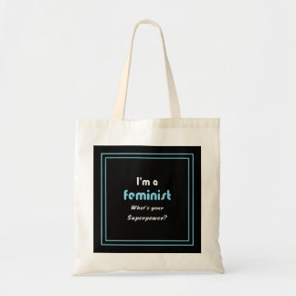 Branco feminista do slogan da superpotência no bolsa tote