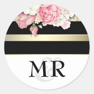 Branco floral do preto do vintage e casamento do adesivo