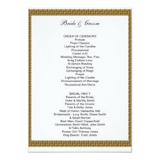 Branco formal e ouro do programa do casamento convite 12.7 x 17.78cm