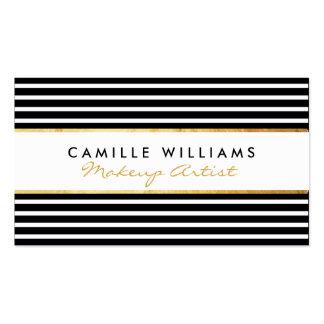 Branco horizontal do preto da listra do ouro cartão de visita