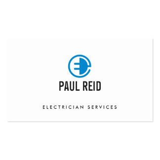 Branco moderno do logotipo do eletricista cartão de visita