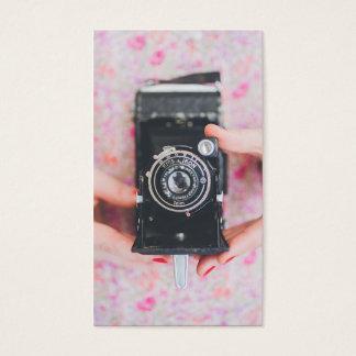 Branco moderno simples do fotógrafo retro da cartão de visitas