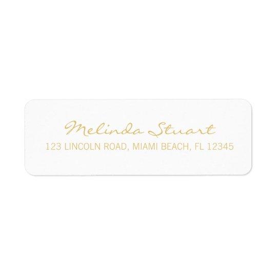 Branco moderno simples profissional e ouro etiqueta endereço de retorno