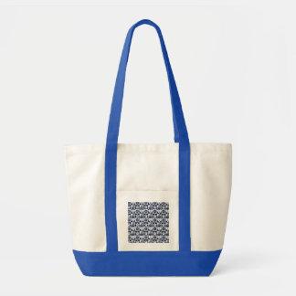 Branco náutico dos azuis marinhos checkered bolsa tote