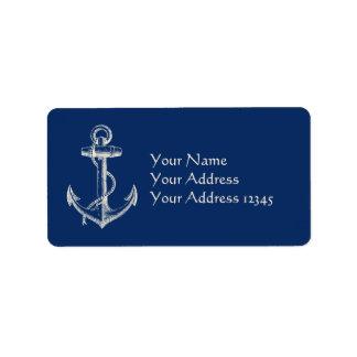 Branco náutico dos azuis marinhos do presente da etiqueta de endereço