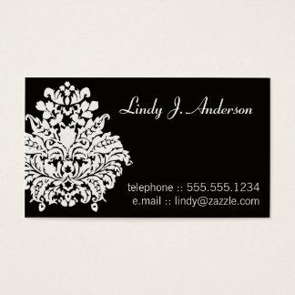 Branco no cartão pessoal do damasco preto