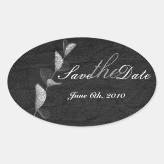 branco no preto com etiqueta de prata do casamento adesivos em formato ovais