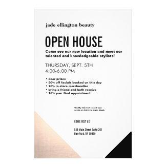 Branco preto, casa aberta do cabeleireiro flyer 13.97 x 21.59cm