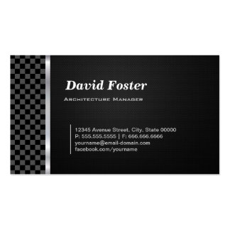 Branco preto Checkered do gerente da arquitetura Cartão De Visita