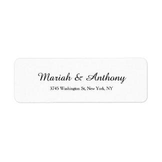 Branco preto clássico criativo elegante Wedding Etiqueta Endereço De Retorno