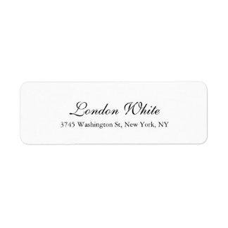 Branco preto clássico da escrita elegante lisa etiqueta endereço de retorno
