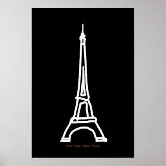 Branco preto da torre Eiffel Paris/France Pôster