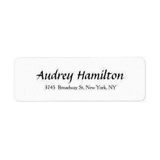 Branco preto liso criativo do roteiro elegante etiqueta endereço de retorno