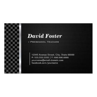Branco preto profissional do professor pré-escolar modelo cartao de visita