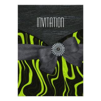 Branco preto verde selvagem do convite