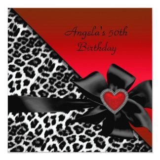 Branco preto vermelho da festa de aniversário do convites