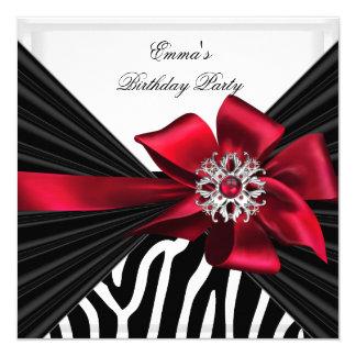 Branco preto vermelho elegante da zebra da festa convite quadrado 13.35 x 13.35cm