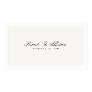 Branco profissional do advogado elegante simples cartão de visita