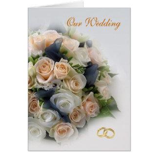 Branco - rosas do pêssego que Wedding o cartão do