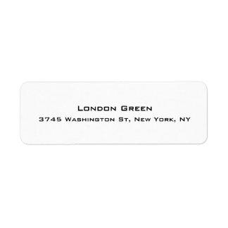 Branco simples liso profissional à moda moderno etiqueta endereço de retorno