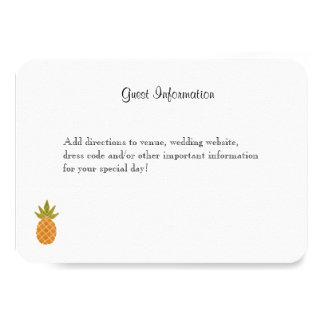 Branco tropical bilíngüe do cartão de informação convite 8.89 x 12.7cm