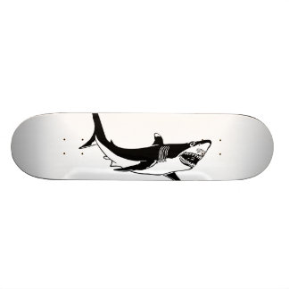 branco-tubarão selvagem shape de skate 19,7cm