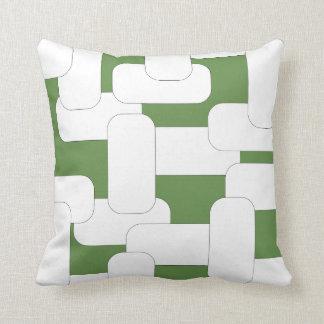 Branco & verde ligados almofada