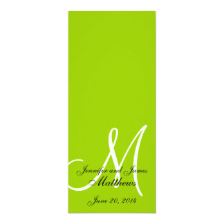 Branco verde-maçã do monograma do programa da convites personalizados