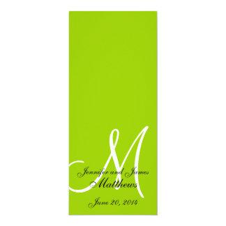 Branco verde-maçã do monograma do programa da convite 10.16 x 23.49cm