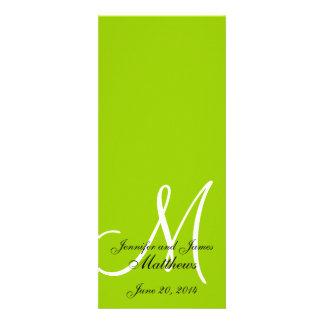 Branco verde-maçã do monograma do programa da igre convites personalizados