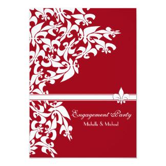 Branco vermelho da festa de noivado da flor de lis convite 12.7 x 17.78cm