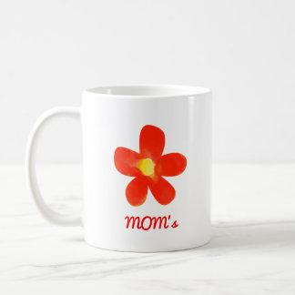 Branco vermelho da flor da aguarela da mãe caneca