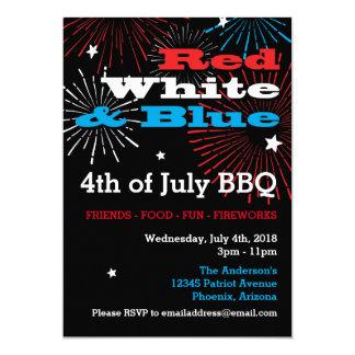 Branco vermelho e azul 4o julho convite 12.7 x 17.78cm