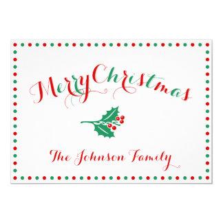 Branco, vermelho e cartões de Natal personalizados Convite 12.7 X 17.78cm