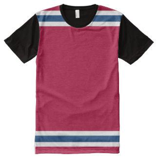 Branco vermelho grande e azul por todo o lado no camiseta com impressão frontal completa
