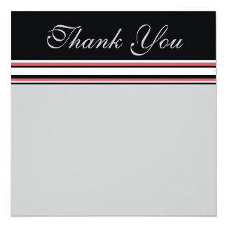 branco vermelho obrigado listrado você convite quadrado 13.35 x 13.35cm