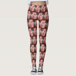 Brandamente teste padrão do rosa do rosa legging