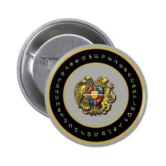 Brasão arménia com o botão redondo do alfabeto bóton redondo 5.08cm