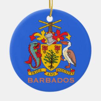 Brasão de Barbados e enfeites de natal da bandeira