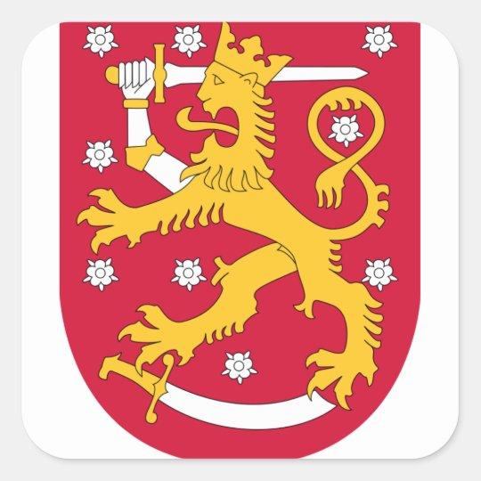 Brasão de Finlandia - Suomen Vaakuna Adesivo Quadrado