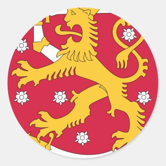 Brasão de Finlandia - Suomen Vaakuna Adesivo Redondo