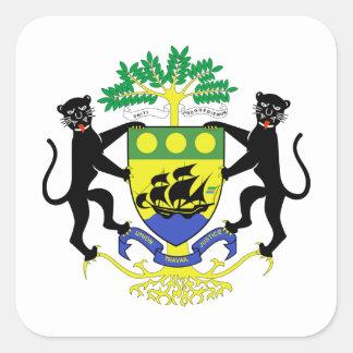 Brasão de Gabon Adesivo Em Forma Quadrada