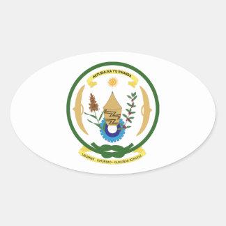 Brasão de Rwanda Adesivos Em Formato Oval