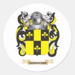 Brasão de Simmons (crista da família) Adesivo Redondo