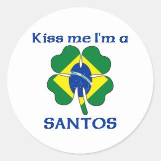Brasileiros personalizados beijam-me que eu sou adesivo em formato redondo
