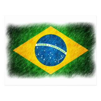 Brazilian_Flag_Pencil_Painting Cartão Postal