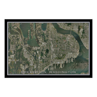 Bremerton Washington da arte do satélite do espaço Poster