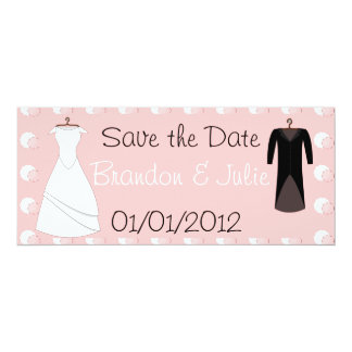Bride and Groom clothes save the date Convite 10.16 X 23.49cm