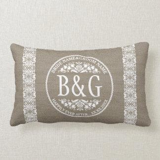 Bride&Groom personalizado Burlap&Lace Almofada Lombar