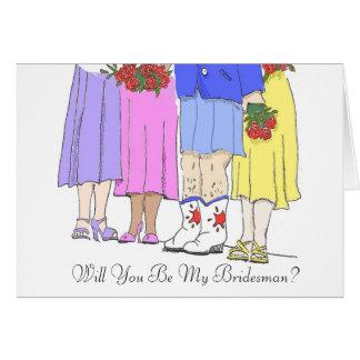 Bridesman, você será meu Bridesman? Cartão De Nota
